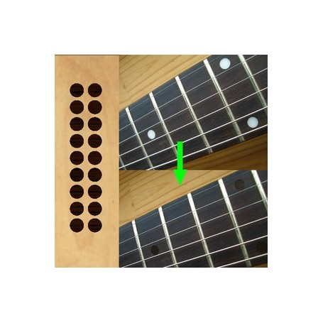 """Sticker guitare touche 1/4"""" dots rosewood"""