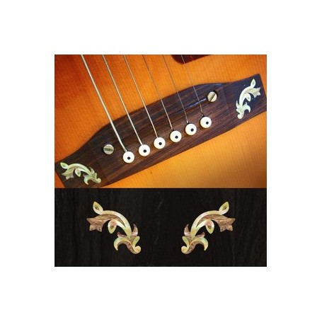 Sticker guitare chevalet traditionnel blanc abalone (2 pieces)